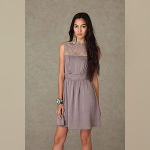 Free People Taupe Solid Lace Neck Mini Dress